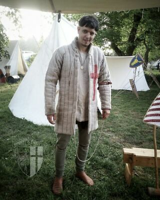 Medieval Gambeson Reenactment Amazing Camel Color Fancy Style Red Templar