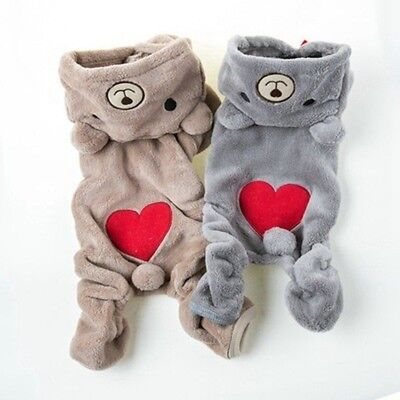 Winter Cat Dog Jumpsuit Small Pet Chihuahua Cothes Crown Bear Puppy Coat Hoodie