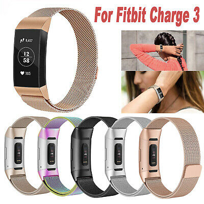 For Fitbit Charge 3 Band S/L Metal Stainless Steel Milanese Loop Wristband Strap