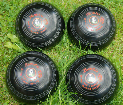 Henselite Classic Deluxe Lawn Bowls Size 4 Medium In Bowl Carrier Set Of 4
