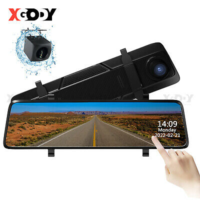 "FHD 1080P 10"" Dual Lens Car DVR Dash Cam Reversing Camera Mirror Video Recorder"