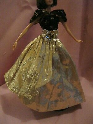 Barbie Clothes Dress Gown - Vintage Gold And Black (Doll Not Included)