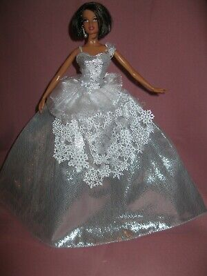 Barbie Clothes Dress Gown - Silver And White Holiday Gown  (Doll Not Included)