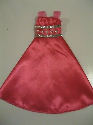 Barbie Clothes Dress Gown - Pink With Silver Embellishment  (Doll Not Included)