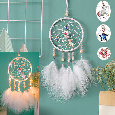 White Feather Light Dream Catcher Home Girl Bedroom Decor Wall Hanging Kids Gift
