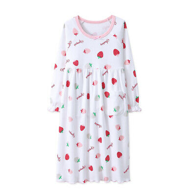 Girls Strawberry Pyjamas Short Sleeve/Long Sleeve Nightwear Cotton Night Nightie