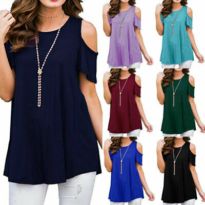 Plus Size Womens Cold Shoulder T Shirt Short Sleeve Summer Casual Blouse Tops UK