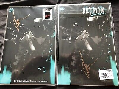 Batman Who Laughs #1 Virgin Cover Signed By Jock Set Of Two Comics Snyder Baron