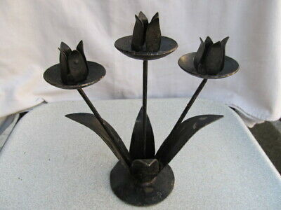 Antique Very Rare Old Hand Forged Wrought Candlestick Candle Holder Iron Metal