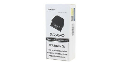 Authentic Starss Bravo Replacement Pod Cartridge (4-Pack) Black