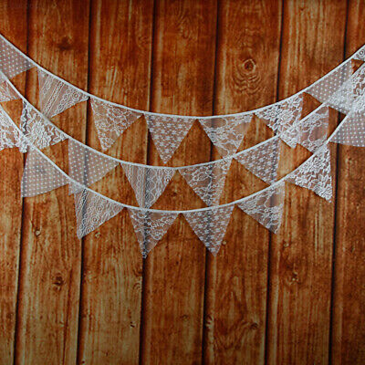 2754 White Lace Flags Vintage Wedding Pennant Fabric Bunting Banner Decoration