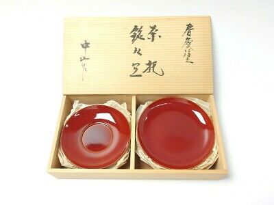 Japanese antique vintage lacquer wood round plate and saucer set chacha