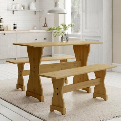 Classic Traditional Table Benches Wooden Kitchen Set Practical Furniture Dinner