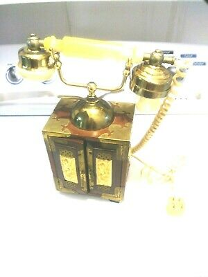 Antique Vintage Oriental Chinese Asian Style Telephone Rotary Dial Wood Brass