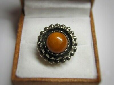 Vintage USSR Ring Beautiful  Baltic AMBER Silver 875 Soviet Antique Size 8.5