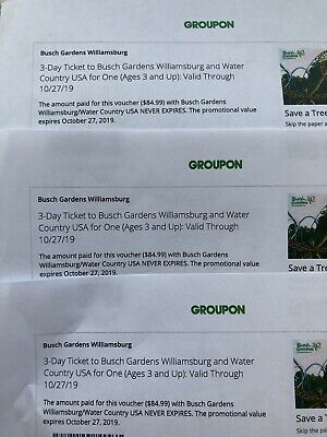 3 3-Day Tickets To Busch Gardens And Water Country USA
