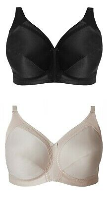 Sizes 34-44 B-G. Ladies Famous Make Total Support Black Non-Wired Full Cup Bra