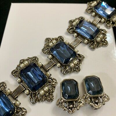 Vtg Victorian Blue Sapphire Glass Wide Bookchain Panel Bracelet & Clip Earrings