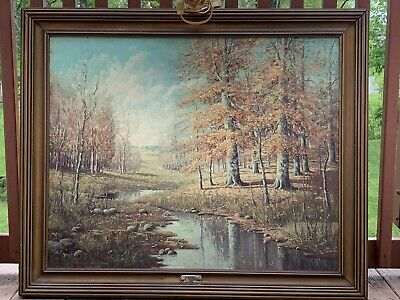 Signed Indiana Artist Antique Landscape Painting Oil On Canvas