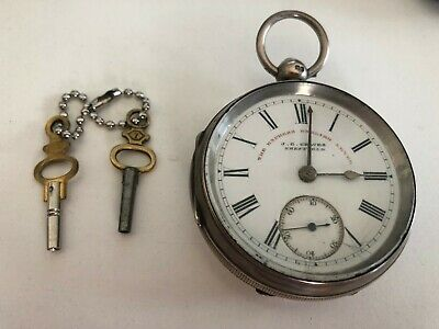 Chunky Antique solid silver gents J. C. Graves pocket watch 1899 - 52mm, 128g
