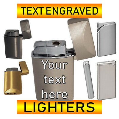 Personalised Text Engraved 2 Sides Metal Lighter Customized Polished  + Gift