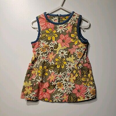 the childrens place baby girls denim floral print dress size 18 months pockets