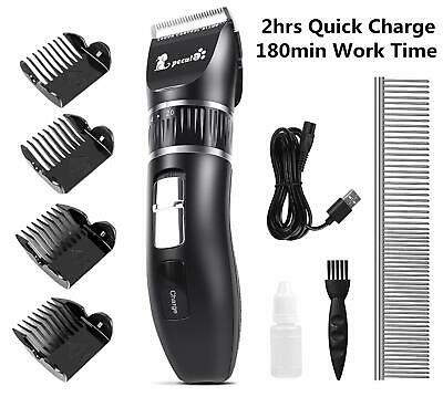 Pet Dog Grooming Clippers Quiet Hair Fur Trimmer Cordless Rechargeable Shaver