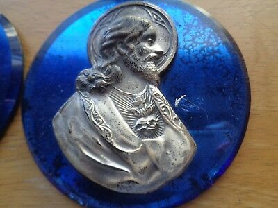 vintage/antique cobalt blue glass circle-raised pewter/silver JESUS 4.5-