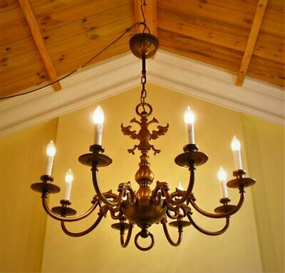 Huge antique vintage French chic brass flemish 8 lamp ceiling light chandelier