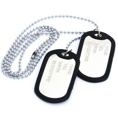 Collier Chaine Pendentif 2 Plaque Identite Dog Tag Alliage Mode Militaire H N3I2