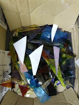 Stained Glass Offcuts. 1kg suitable for jewellery making or mosaics. Box A