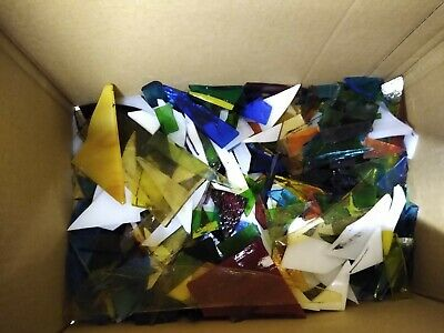 Stained Glass Offcuts. 1kg suitable for jewellery making or mosaics. Box B