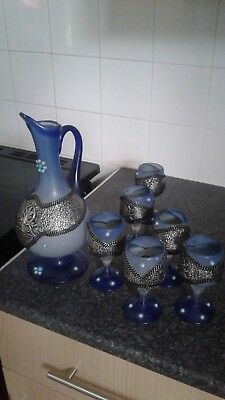 vintage glass jug and glasses with turquoise stones and silver metal