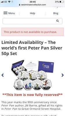 2019 Peter Pan Silver Proof 50p Set Boxed, COA, Pre Order Confirmed. Sold out.
