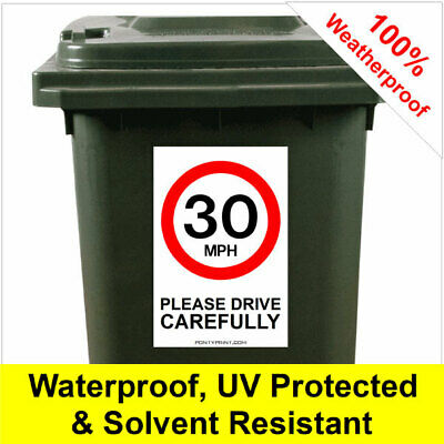 30mph road safety wheelie bin sticker sign 9420 30cm x 20cm safer roads children