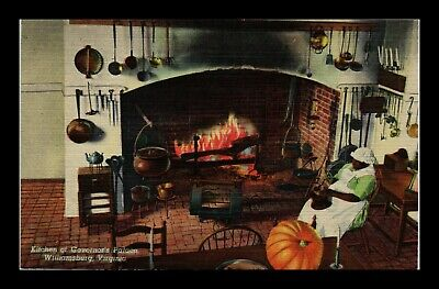 Dr Jim Stamps Us Kitchen Governors Palace Williamsburg Linen Postcard