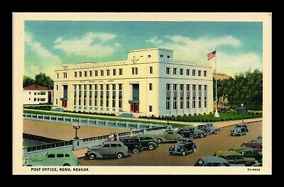 Dr Jim Stamps Us Reno Nevada Post Office Linen Colortone Postcard Old Cars