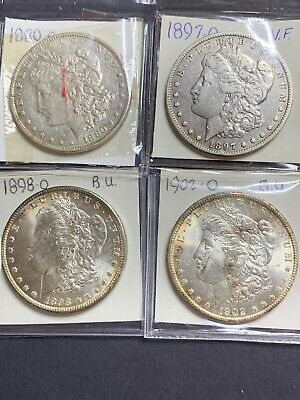 1880-O, 1897-O, 1898-O, 1902-O. Morgan Silver Dollars. *4 Coins* Some Toning.