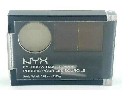1 NYX Eyebrow Cake Powder ECP02 Dark Brown/Brown .09 oz New Sealed!