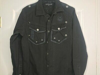 Affliction Black Premium Button Front Shirt Distressed Live Fast Embroidered M