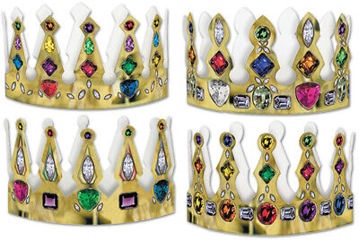 Packaged Printed Jeweled Crowns - Assorted Designs #22306 - CASE OF 12
