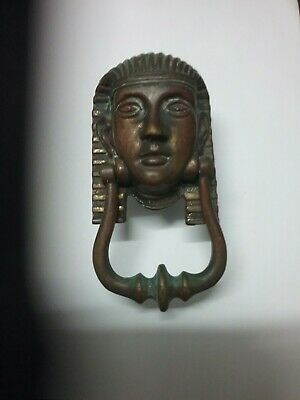 Vintage Egyptian Pharoah Head Brass Door Knocker