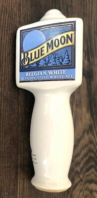 "Blue Moon Belgian White Wheat Ale Ceramic Beer Tap Handle 7"" Tall"