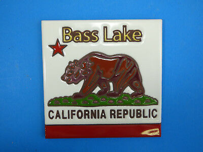 "Ceramic Art Tile 6""x6"" Bass Lake, California Republic black bear trivet wall K78"