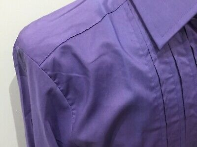 "ST MICHAEL vintage mens purple Dress Shirt 16"" collar 100% cotton   Fancy dress"