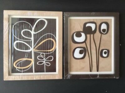 CoCaLo Pewter Nursery, Baby Room  2 pc Set Framed Art , 12x18 New Modern Floral