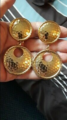 e39118631d7 Vintge Miriam Haskell Big Bold Gold Tone Hammered Dangling Disc  Earrings~Signed