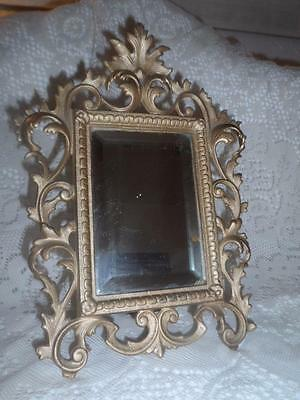Antique Brass Scrolled Rococo Framed Beveled Glass Victorian Vanity Easle Mirror