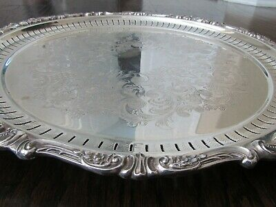"""Wallace Baroque Silver Plate Round Tray Vintage Silversmith Large Plate 18 3/4"""""""
