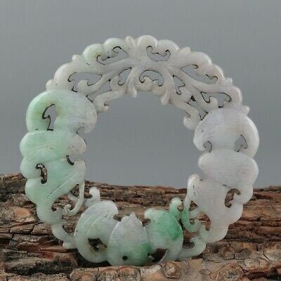 Chinese Exquisite Hand-carved bat carving jadeite jade Pendant